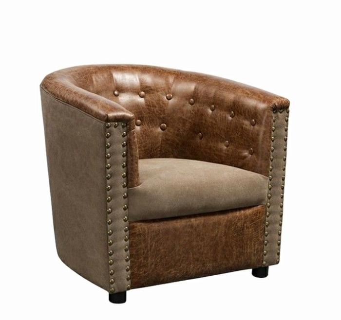fauteuil tonneau capitonné cuir marron