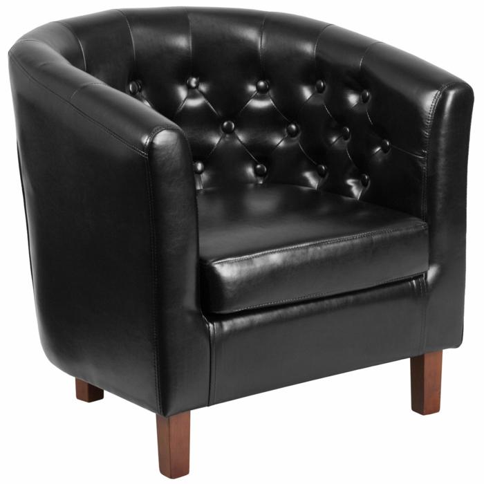 fauteuil tonneau capitonné cuir noir