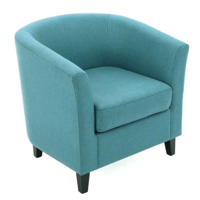 fauteuil tonneau couleur bleu turquoise