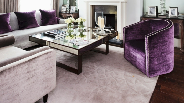 fauteuil tonneau design couleur violet