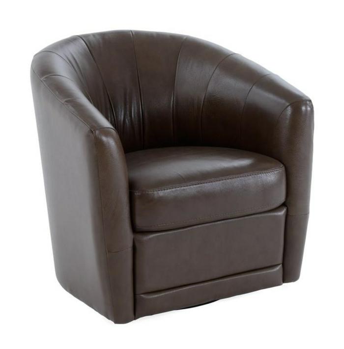 fauteuil tonneau design moderne cuir marron