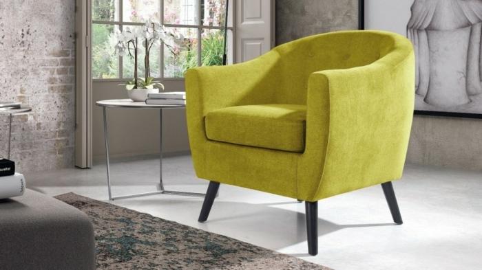 fauteuil tonneau design velours