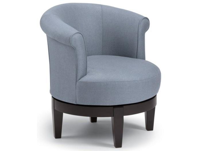 fauteuil tonneau gris pieds en bois foncé