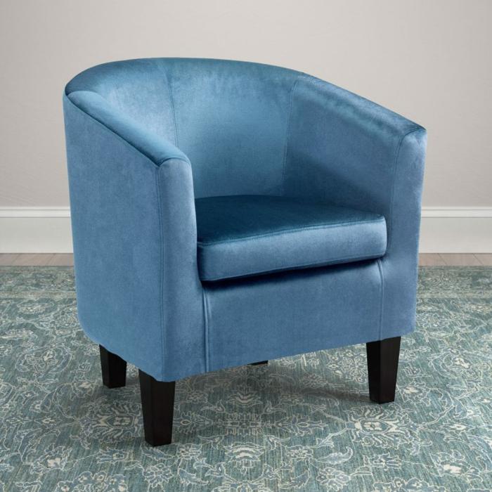 fauteuil tonneau moderne couleur bleu