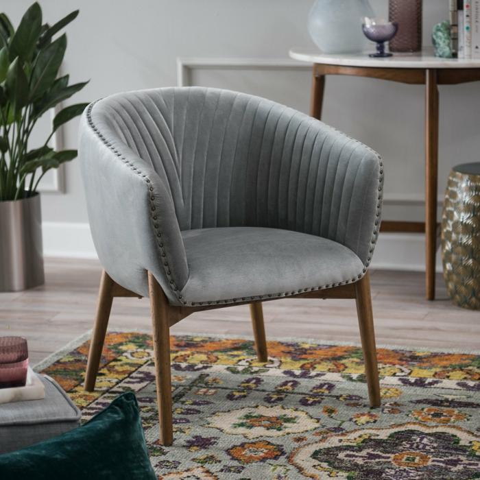fauteuil tonneau tendance couleur gris clair