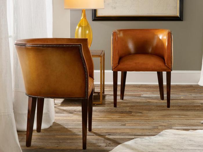 fauteuil tonneau ultra design cuir et bois