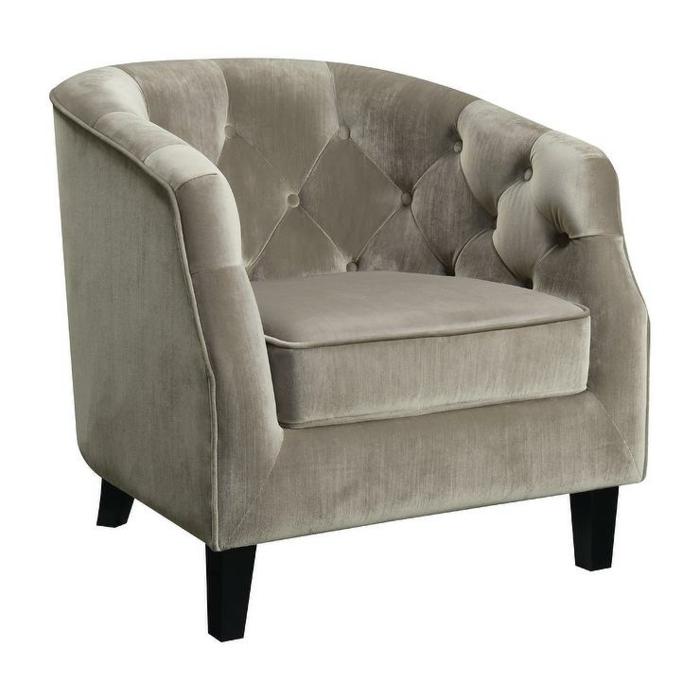 fauteuil tonneau velours couleur olive