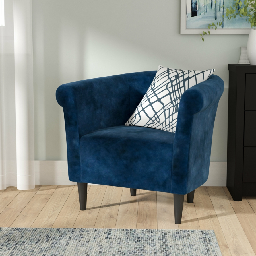 fauteuil tonneau vintage couleur bleu foncé