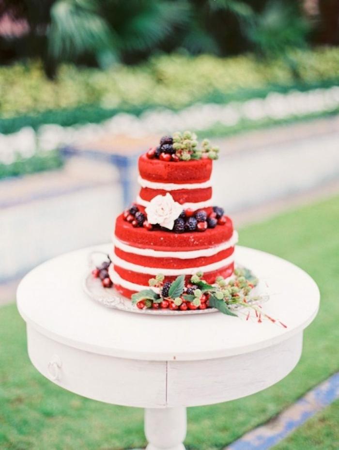 gâteau anniversaire naked couleur rouge
