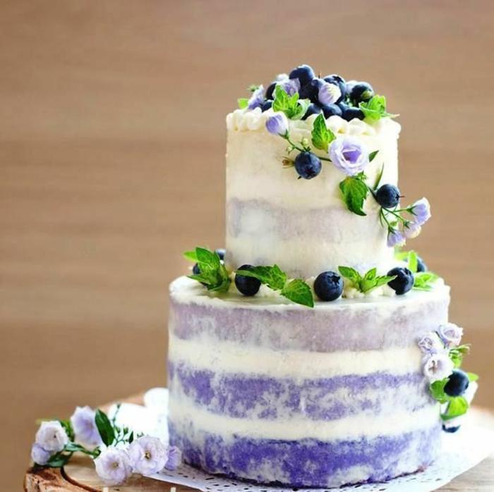 gâteau anniversaire naked inspiration en violet