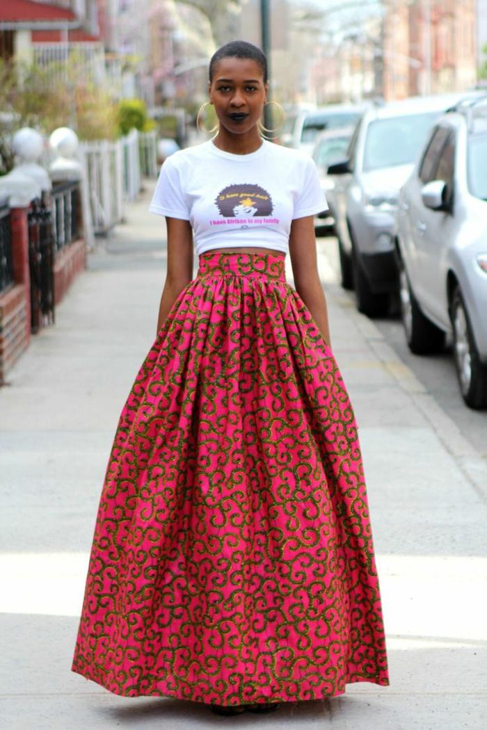idée comment porter la jupe wax