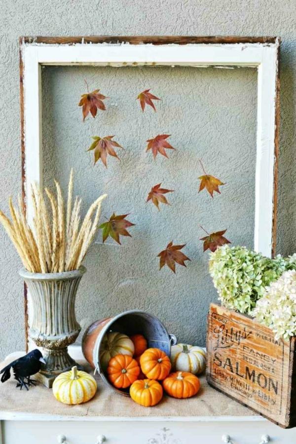 idée déco automne à faire soi-même cadre de photo feuilles d'automne
