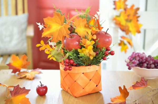 idée déco automne à faire soi-même corbeille de fleurs