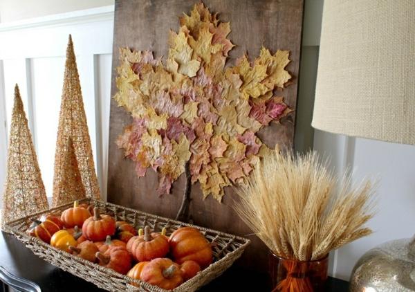 idée déco automne à faire soi-même feuilles d'automne épis de blé