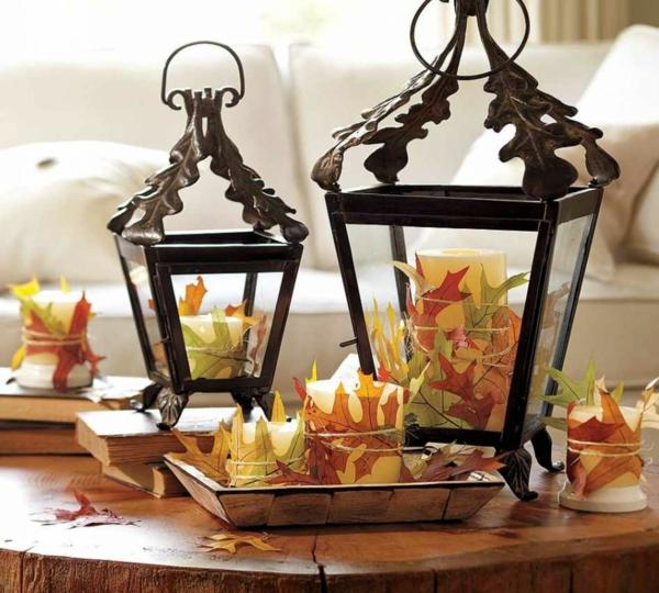 idée déco automne à faire soi-même lanterne fer forgé bougies feuilles automnales