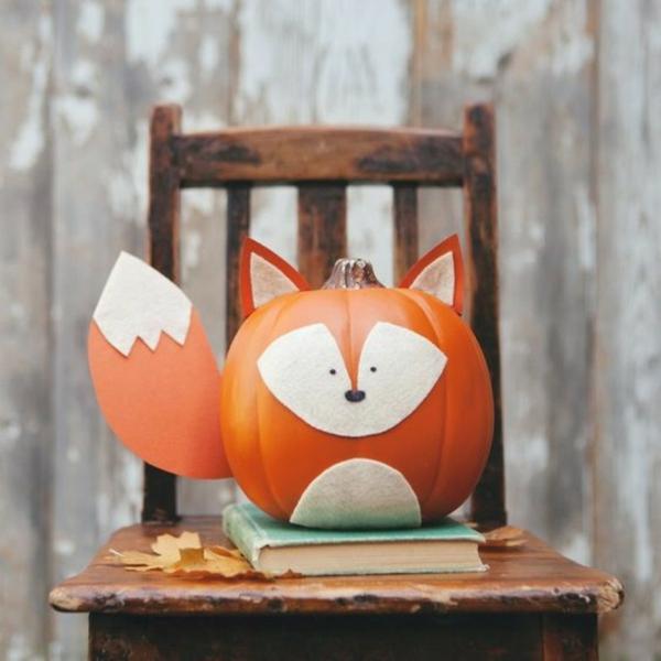 idée déco automne à faire soi-même renard fait de citrouille