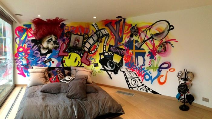 idée déco chambre ado garçon graffiti déco murale
