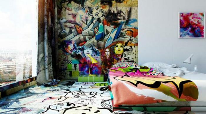 idée déco chambre ado graffiti tapis graphique