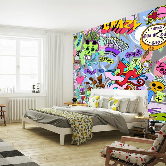 idée déco chambre ado papier peint 3d graffiti