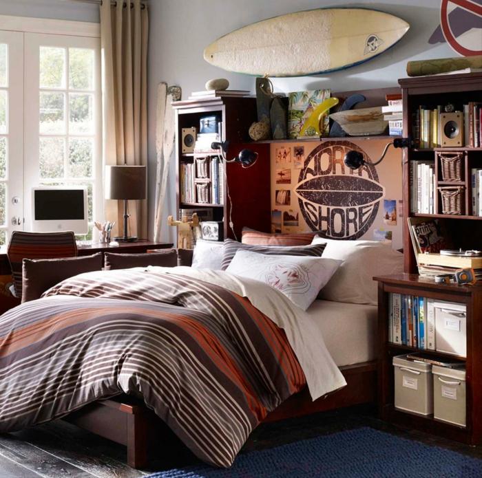 idée déco chambre ado planche de surf déco murale