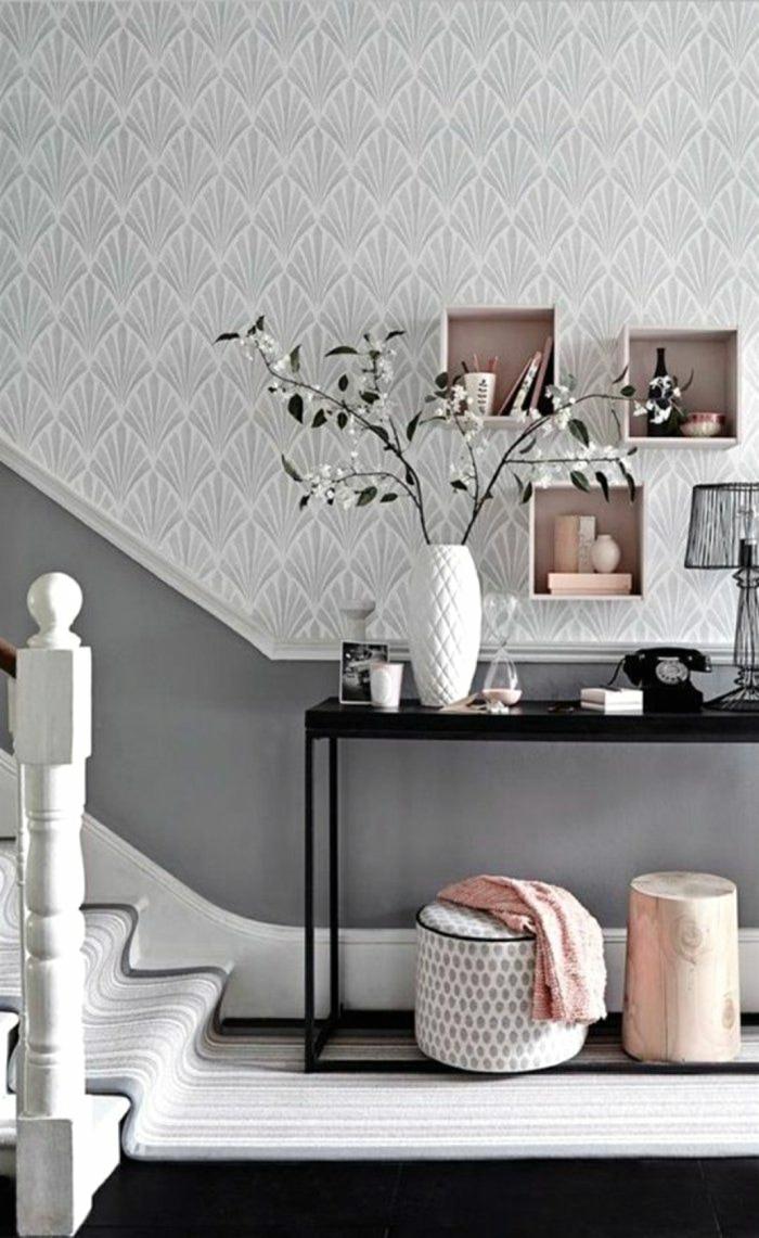 idée déco couloir étroit en gris et blanc