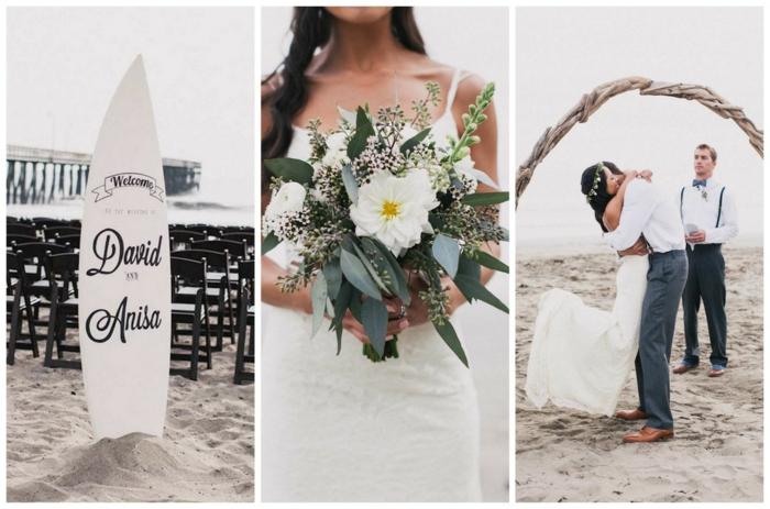 idée déco planche de surf mariage