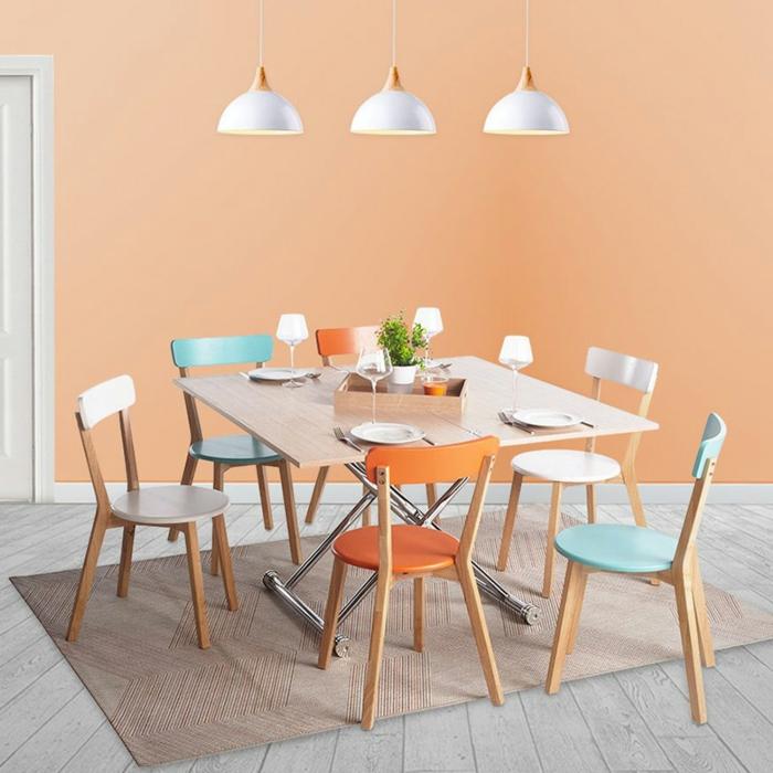 idée déco salle à manger moderne chaises colorées