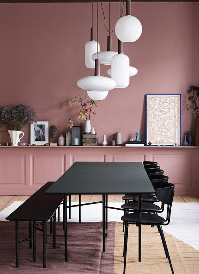 idée déco salle à manger moderne table industrielle