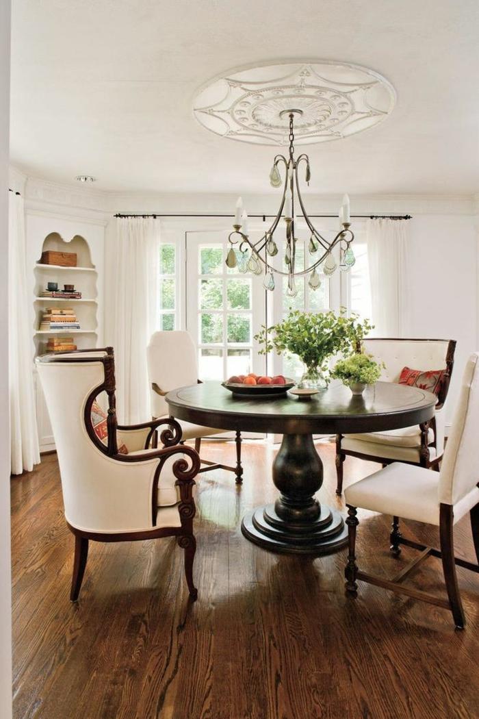 idée déco salle à manger moderne table ronde en bois massif