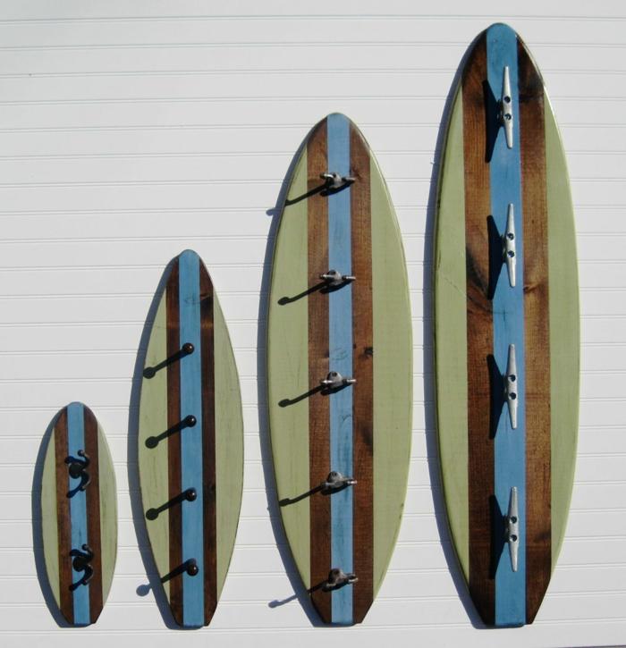 idée porte manteau unique déco planche de surf