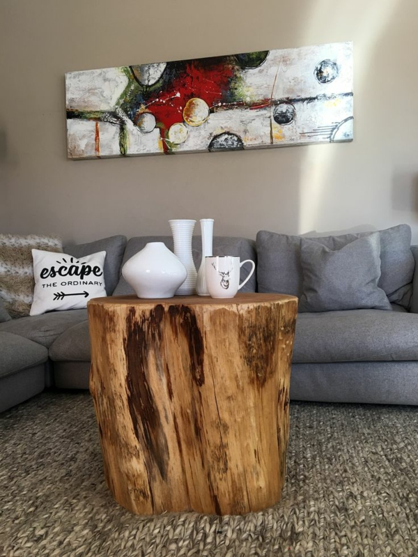 idée table à café table basse tronc d'arbre