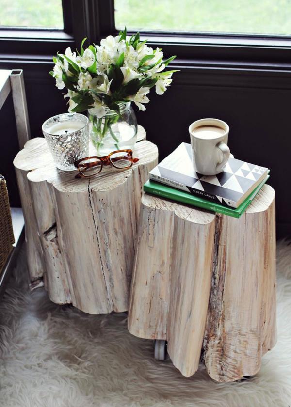 idée table basse tronc d'arbre salon