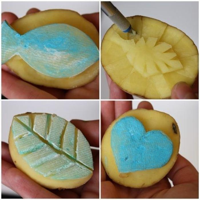 idée tampon encreur avec pomme de terre