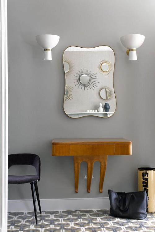 idées déco entrée table accrochée au mur