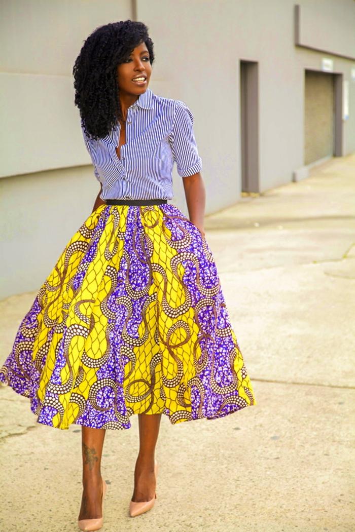idées pour un look tendance avec une jupe wax
