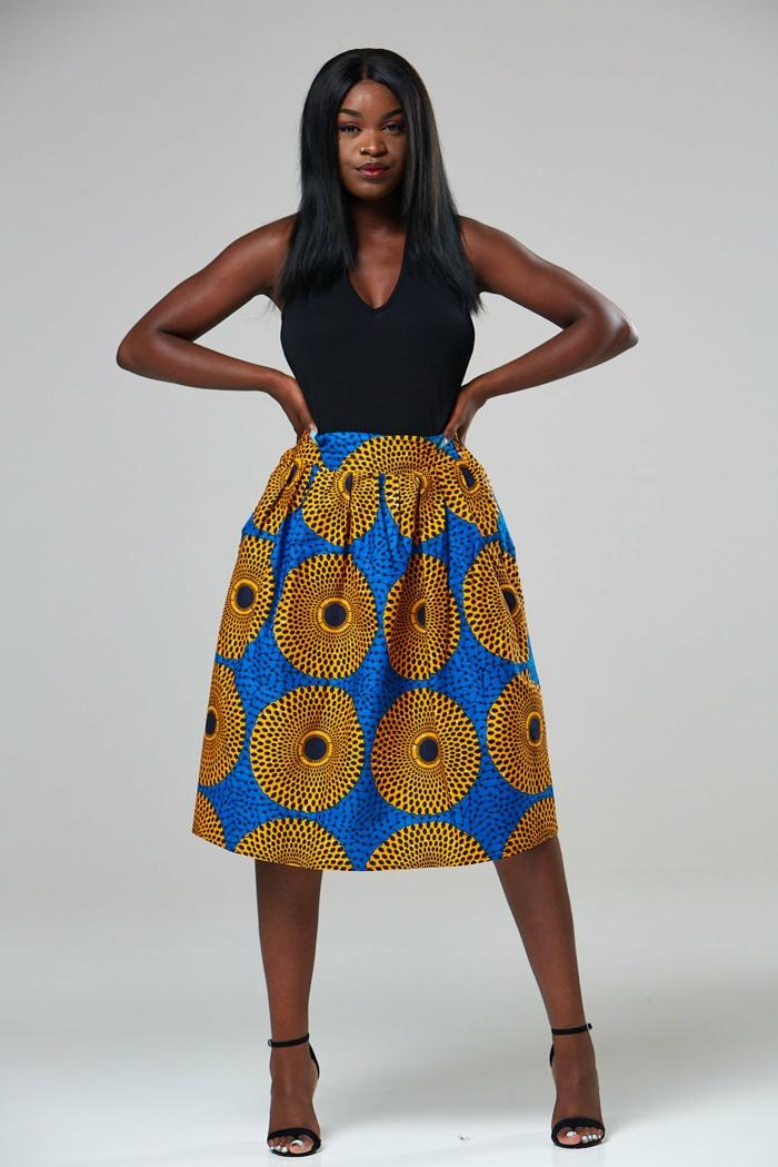 jupe wax jaune et bleu