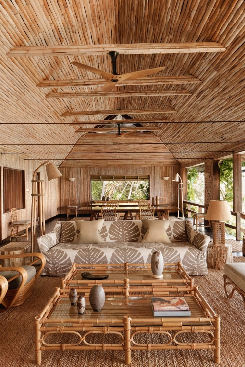maison de plage en bambou grande terrasse en bambou