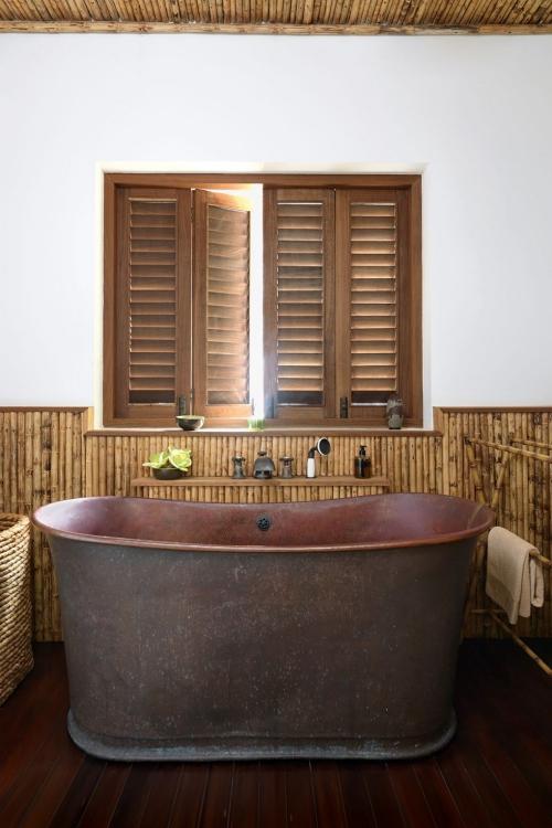 maison de plage en bambou salle de bains