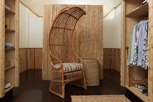 maison de plage en bambou salle de rangement