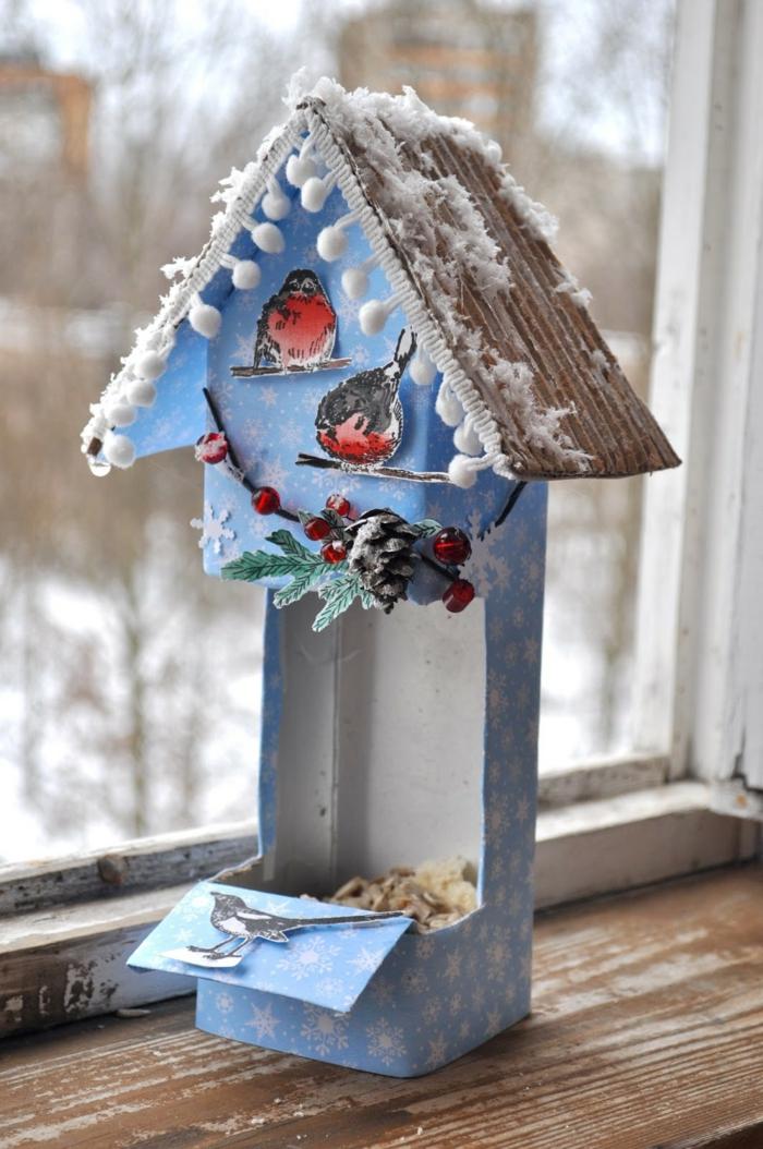 mangeoire oiseaux de boîte en carton