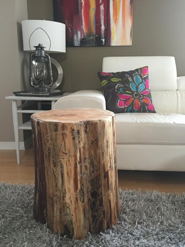 meuble salon design table basse tronc d'arbre