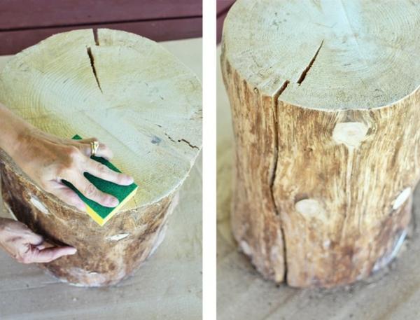 nettoyage tronc table basse tronc d'arbre