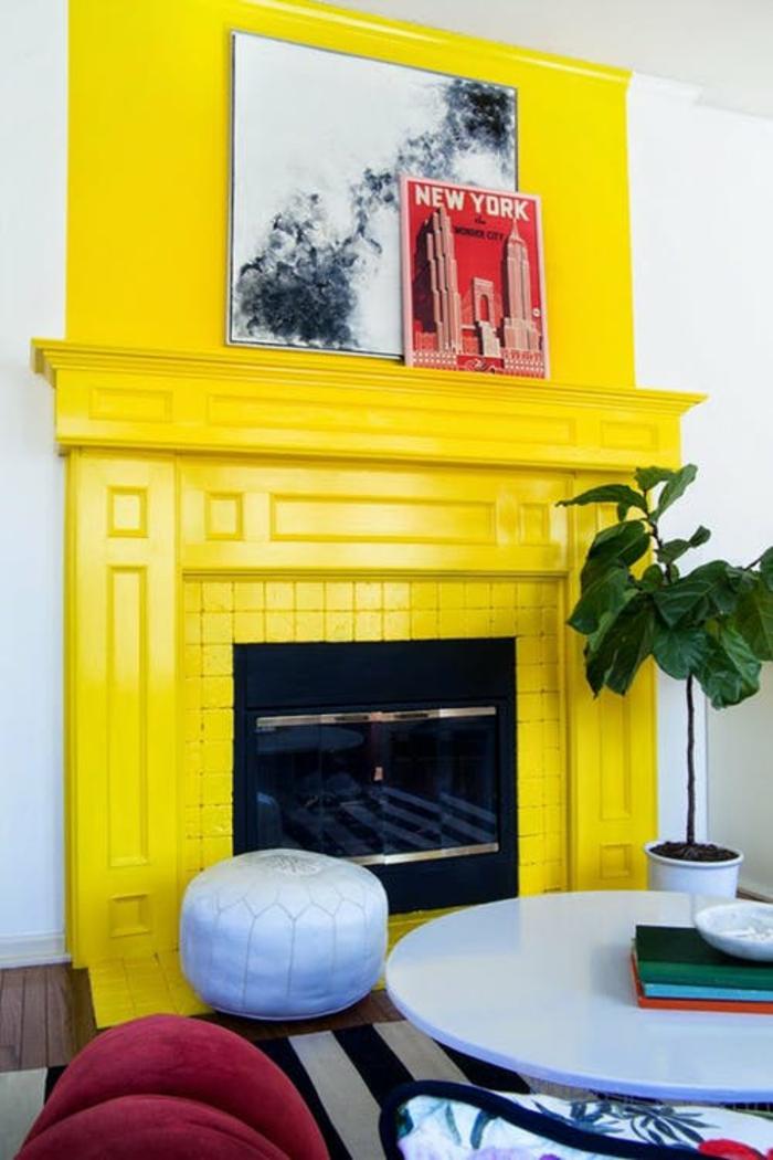peinture cheminée jaune gen-z