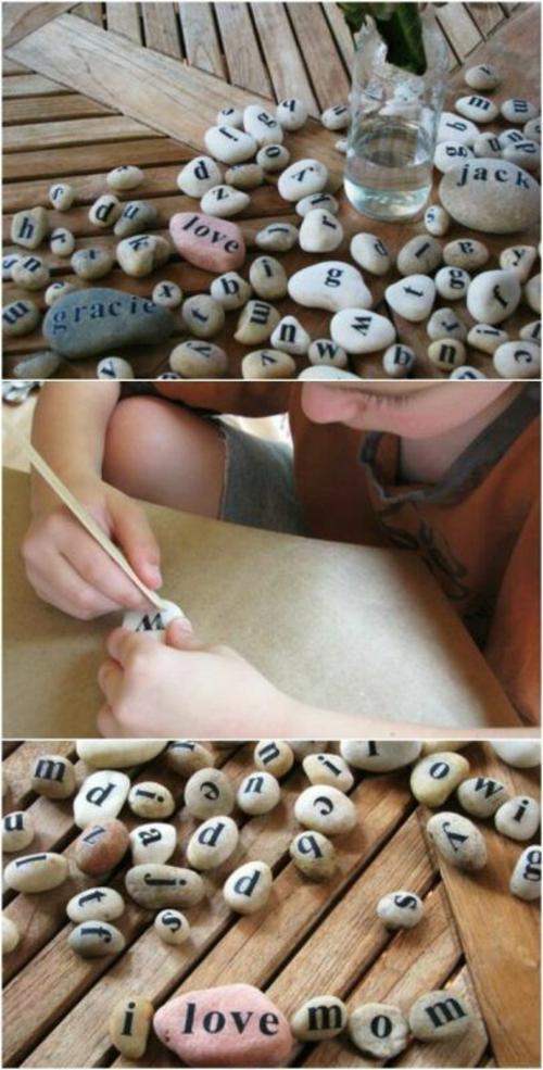 peinture de lettres bricolage avec des galets