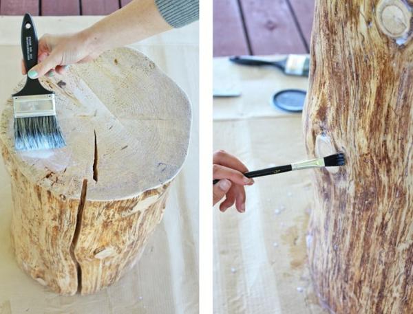 peinture tronc table basse tronc d'arbre