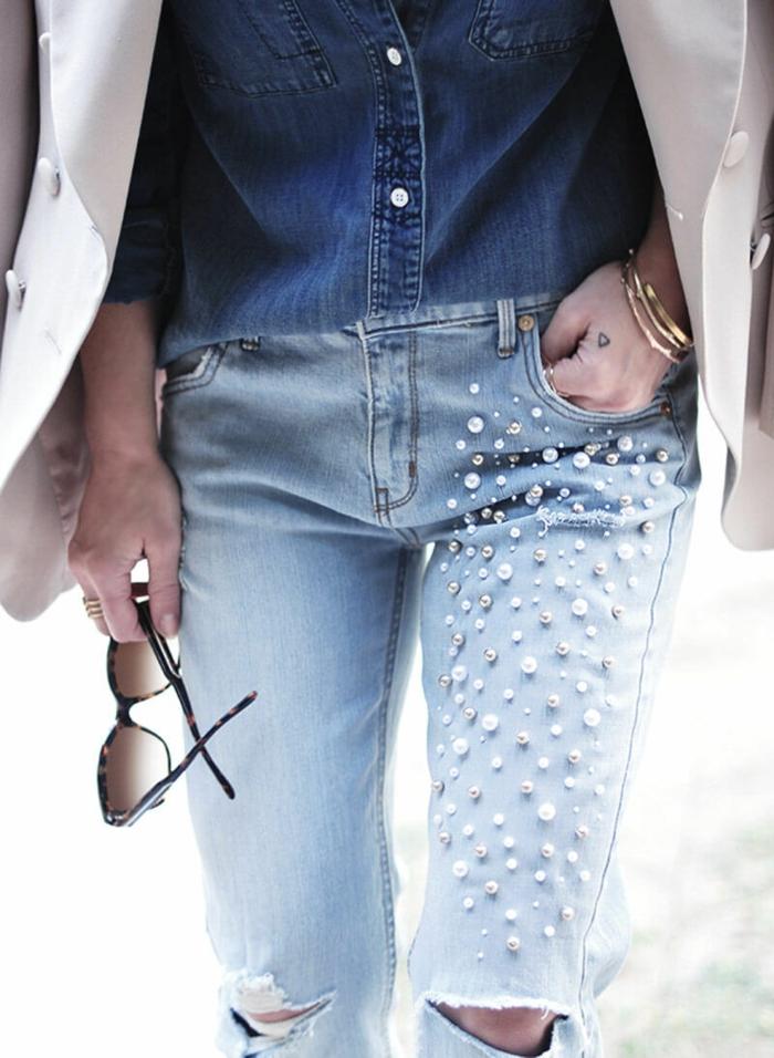 perles customiser un jean