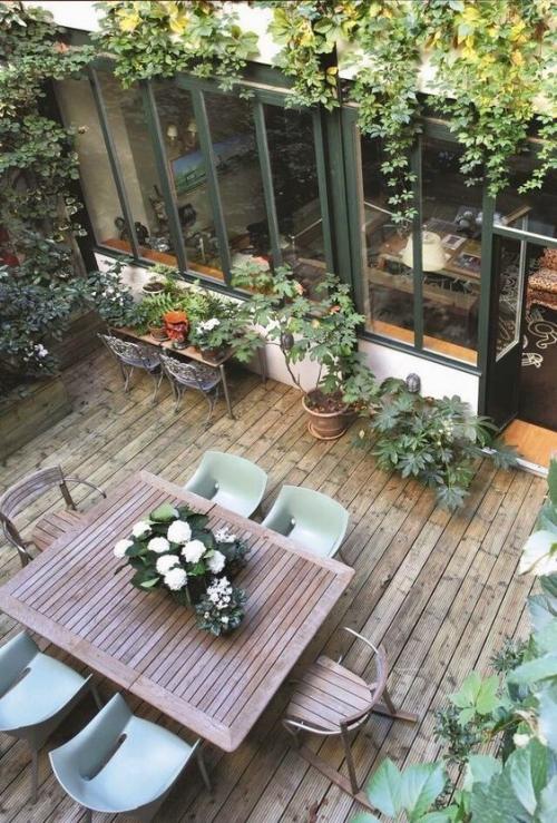 plante en pot terrasse espace à découvert