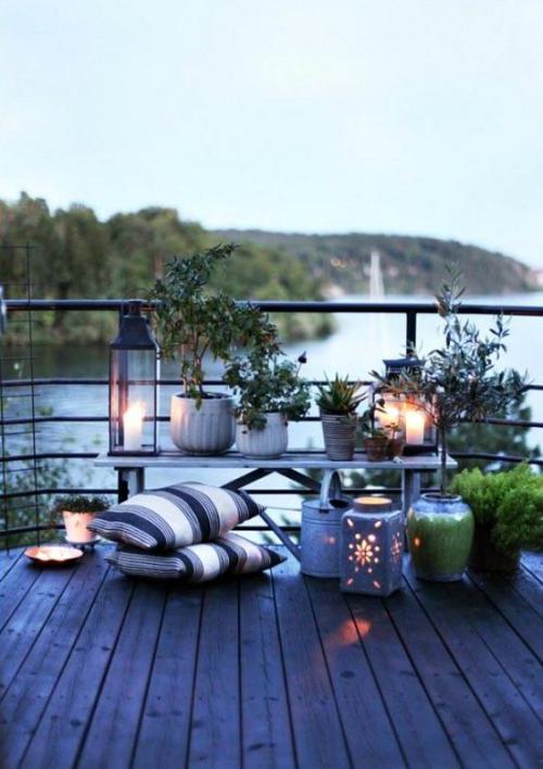 plante en pot terrasse grand espace avec vue sur un lac