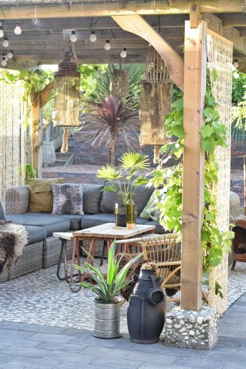 plante en pot terrasse sol en pierres et en briques