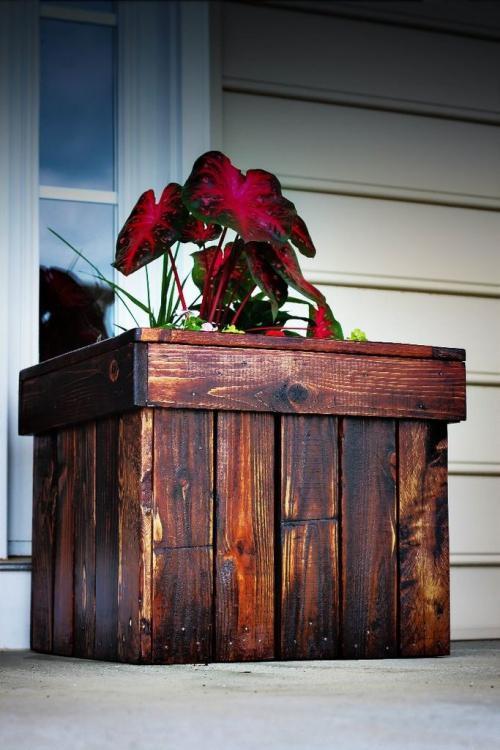 plante extérieure en pot grand coffre en bois récupéré
